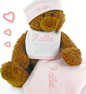 Embroidered Girls Teddy Bear Blanket Set