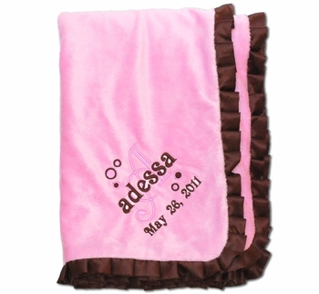 Embroidereded Pink Velour Blanket With Brown Trim
