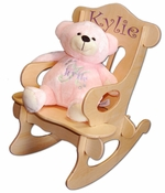 Engraved Baby Rocking Chair And Pink Plush Bear Set