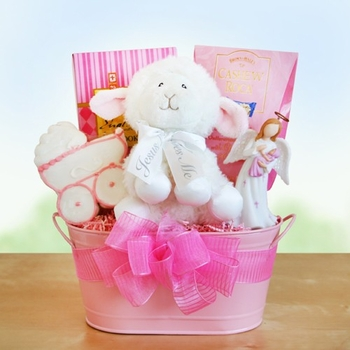 """Jesus Loves Me!"" Baby Girl Basket (Out of Stock)"