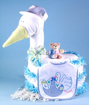 Large Stork Boy Diaper Cake