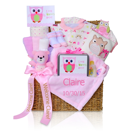 look whoo s here baby girl gift box simplyuniquebabygifts com