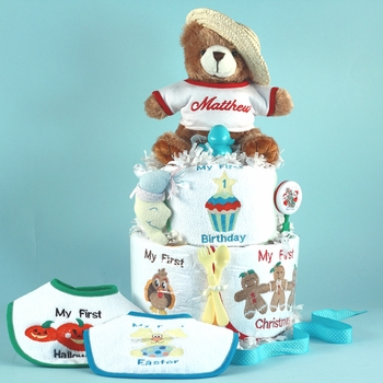 My Firsts: Custom Holidays Diaper Cake