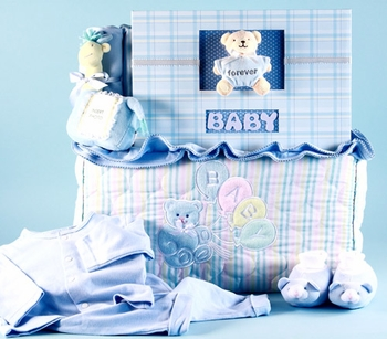 New Baby Boy Set With Quilted Tote Bag