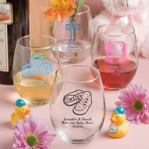 Personalized 15 Oz Stemless Wine Glass Baby Shower Favors Free