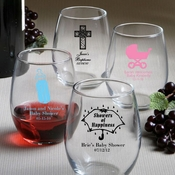 Personalized 9 Ounce Stemless Wine Glasses