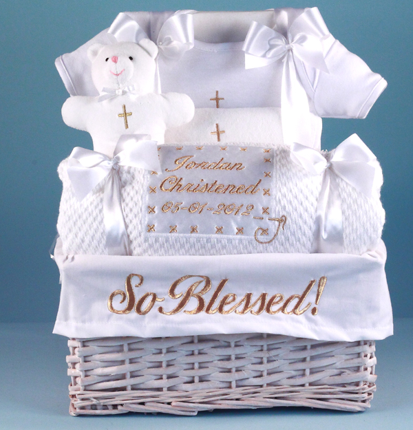 Baby christening baptism gifts simplyuniquebabygifts personalized baby christening basket negle Gallery