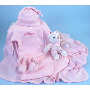 Personalized Baby Girl Bedtime Layette Set