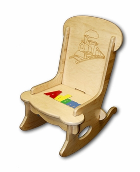 Personalized Baby Rocker With Puzzle Name & Choo Choo