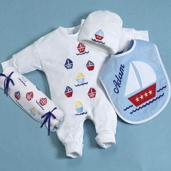 Personalized Boys Sailboat Theme Layette Set
