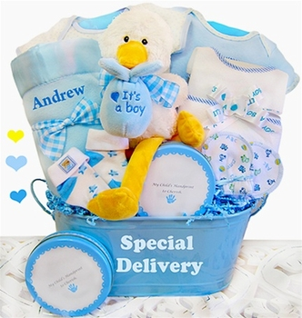 Personalized baby boy stork basket simplyuniquebabygifts personalized boys stork collection negle Gallery