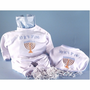"Personalized ""First Hanukkah"" Baby Boy Outfit Set"