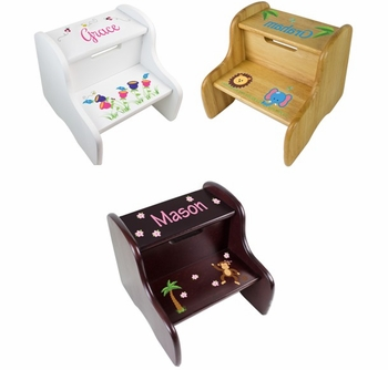 Personalized Imprinted Wooden Step Stools For Kids  sc 1 st  Simply Unique Baby Gifts : wooden step stool for kids personalized - islam-shia.org