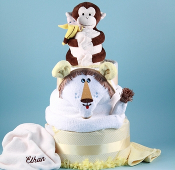 Personalized Jungle Buddies Diaper Cake