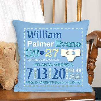 Commemorative Birth Pillow for Boys