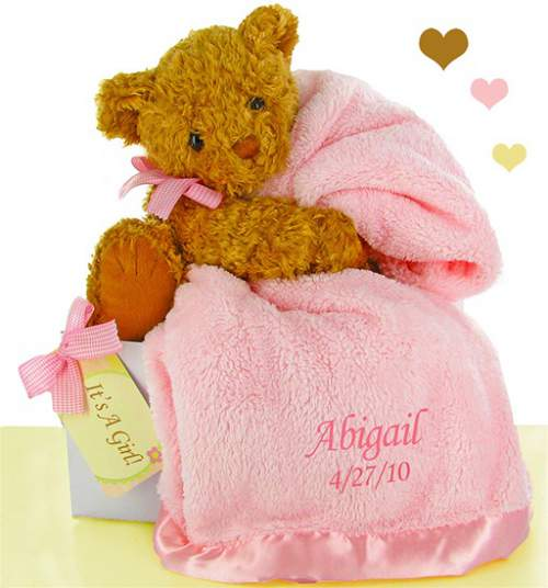 Unique baby gifts over 1150 baby gifts at simplyuniquebabygifts personalized pink blanket and bear negle Choice Image