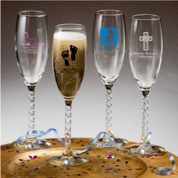 Personalized Twisted Stem Champagne Flutes