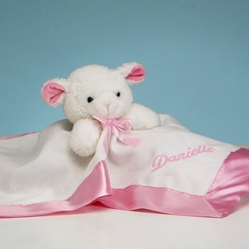 Personalized White & Pink Baby Security Blanket