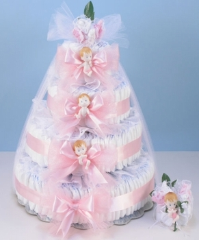 Pink Corsage Diaper Cake