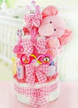 Pink Elephant Girly Diaper Cake