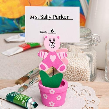 Pink Teddy Bear Place Card Holders