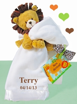 Plush Lion & White Baby Blankie Set