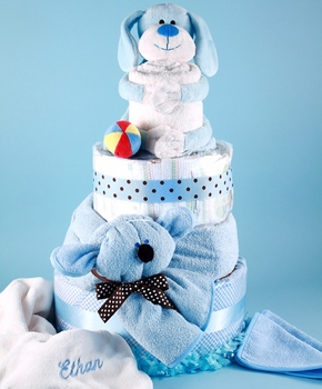 Plush Puppy 4 Tier Diaper Cake - Personalizable