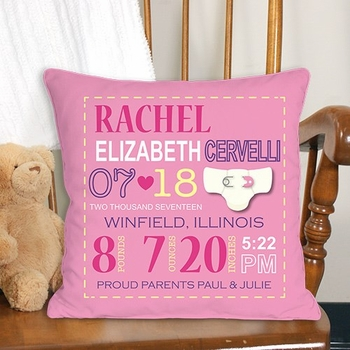 Commemorative Birth Pillow for Girls