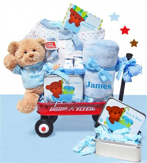 Unique baby gifts over 1150 baby gifts at simplyuniquebabygifts welcome baby boy wagon negle Choice Image