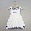 White and Blue Cotton Dress (Can be personalized)