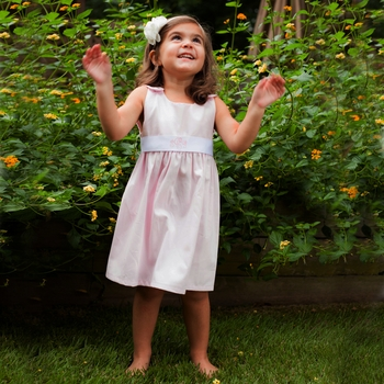 White Sash Pink Cotton Baby Sundress (Can Be Personalized)