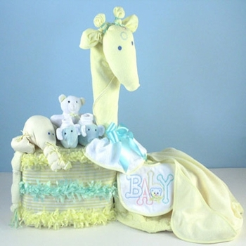 Yellow Giraffe Design Neutral Diaper Cake