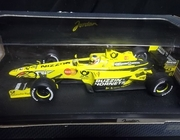 Hot Wheels 26744   --     Jordan EJ10   -   Jarno Trulli   1;18   (plastic has tear/box rough edges)
