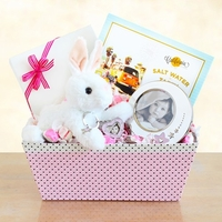 Happy Hopping Baby Girl Gift Set with Picture Frame
