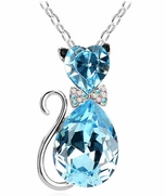 Bow-Tie Silver Kitten Pendant with Chain, Blue