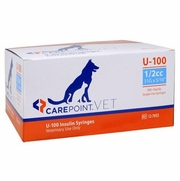 "CarePoint VET U-100 Insulin Syringe 1/2cc, 31G x 5/16"", 100/Box"