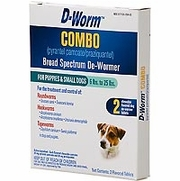 D-Worm Combo De-Wormer, Puppies & Small Dogs 6-25 lbs, 2 Chew Tablets