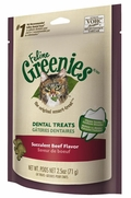 Feline Greenies Dental Treats - Succulent Beef Flavor, 2.5 oz