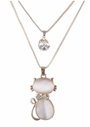 Gold-Metal Double Pendant with Mother-of-Pearl Kitten and CZ on Chain