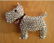 Gold-Metal Sparkling Rhinestone Dog with a Bell, Pendant with Chain