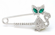 Green-Eyed Kitty Rhinestone Brooch