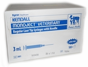 "Monoject Syringe 3 cc, 20 ga. x 1.5"", Regular Luer, 100/Box"