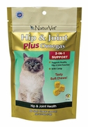 NaturVet Hip & Joint Plus Omegas Soft Chews For Cats, 50 CT
