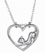 Silver-Metal Kitten Stretching Inside Heart, Pendant with Chain
