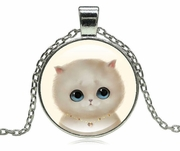 Round Glass Cat, Pendant with Chain