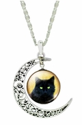 Silver-Metal Crescent Moon Glass Black Cat Pendant with Chain