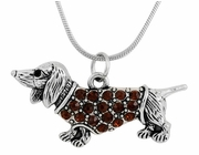 Silver-Metal Dachshund Pendant with Chain