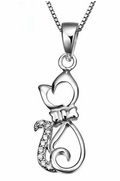 Silver-Metal Kitten with a Rhinestone Bow-Tie Silhouette, Pendant with Chain