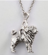 Silver-Metal Pit Bull Pendant with Chain