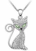 Silver-Metal Rhinestone Green-Eyed Kitten   Pendant with Chain